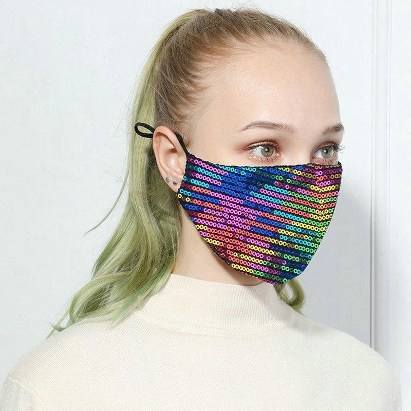 Blinging Designer Face Seavin Paillette Роскошная мода моющаяся многоразовая женщина маски Mascarillas защитный регулируемый