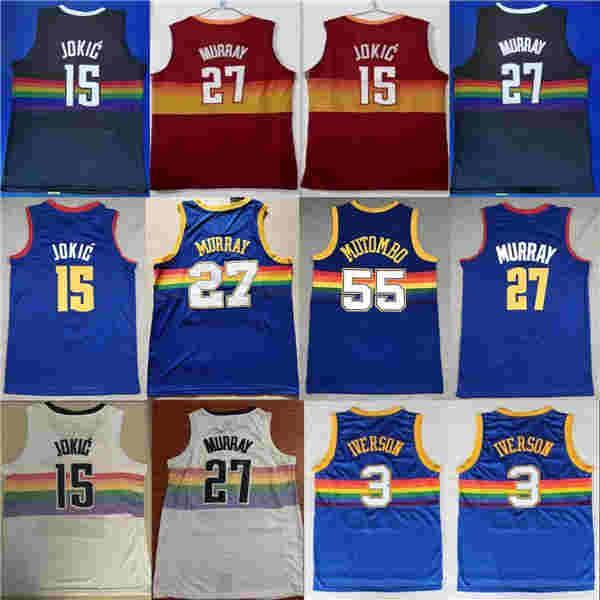 New City Edtion Nikola Jamal Jokic 27 Murray Allen 55 Dikembe Iverson Mutombo Basketball Jersey Ncaa Jersey azul cor branca