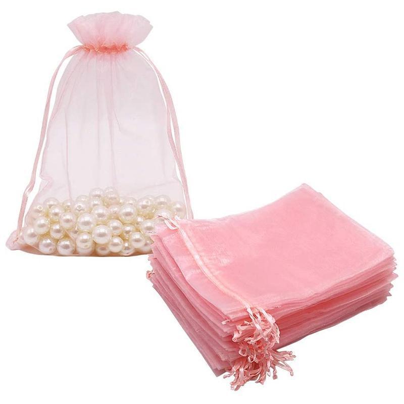 100 قطع كبير أكياس الأورجانزا استحى الوردي، 17x23 سم شبكة هدية أكياس الرباط الحقائب المجوهرات لعيد الزفاف عيد الميلاد