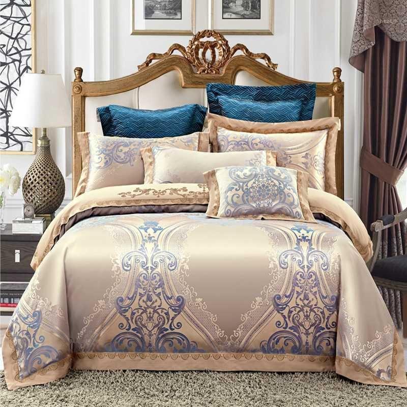 Bedding Sets Luxury Jacquard Set King Queen Size Bed Linen Silk Cotton Duvet Cover Sheet Pillowcases1