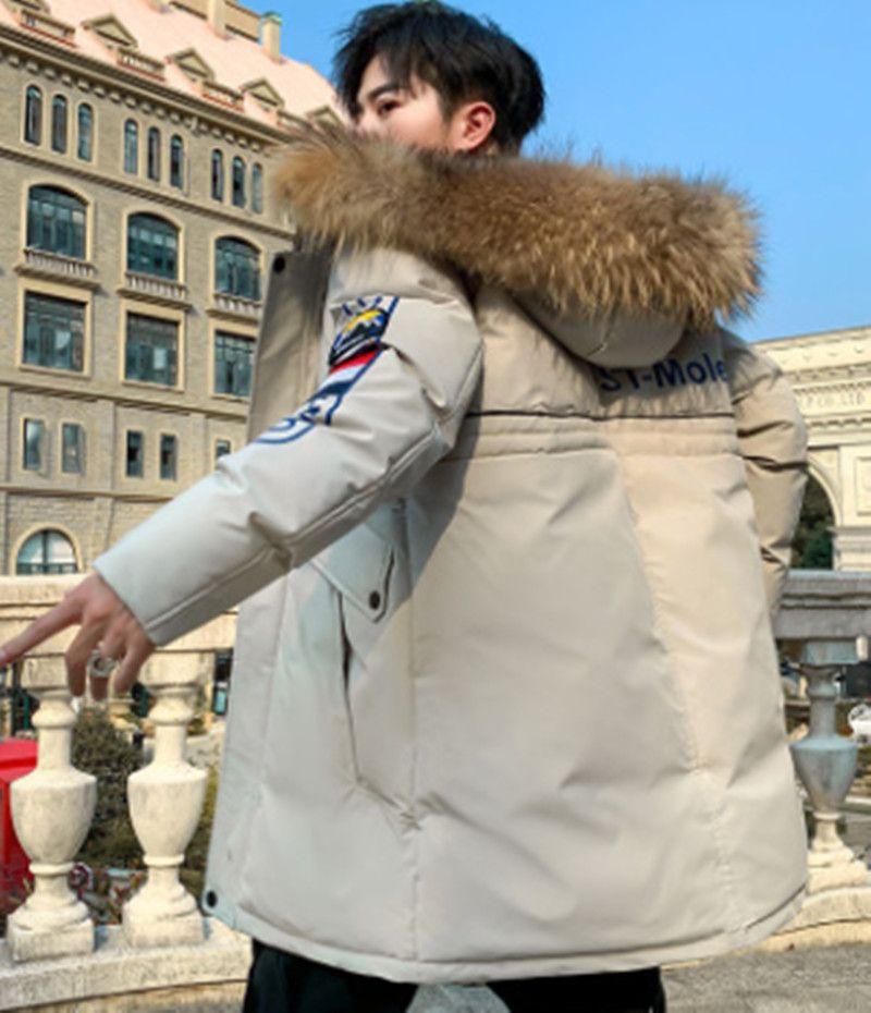 Yeni Stil Erkekler Aşağı Ceket Kış Orta Uzun Pamuk Yastıklı Monclair Takım Kalınlaşmış Yün Yaka Trend Coat 201021