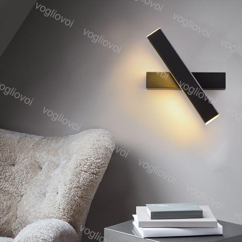 أدى الجدار مصباح 6 واط 12 واط 360 درجة دوران للتعديل الأبيض / أسود الجسم ac85-265 فولت الاكريليك الألومنيوم ل غرفة المعيشة المطبخ dhl