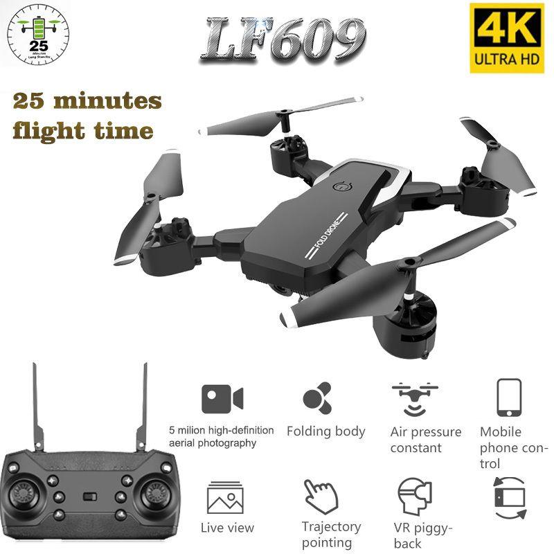 LF609 Drone 4K con fotocamera HD WiFi 1080P Dual fotocamera fotocamera Seguimi Quadcopter FPV Professional Drone Lungo Batteria Batteria Giocattolo per bambini 201120
