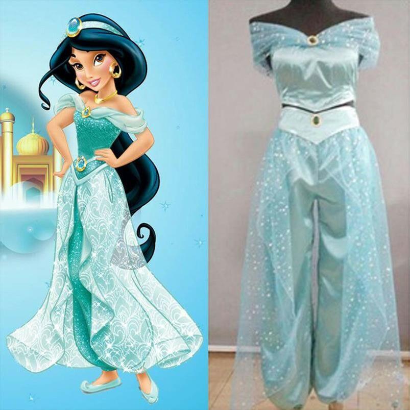 Brand New Womens Grils Jasmine Princess Dress Cosplay del partito del costume di Halloween per adulti ballerino Costume Set