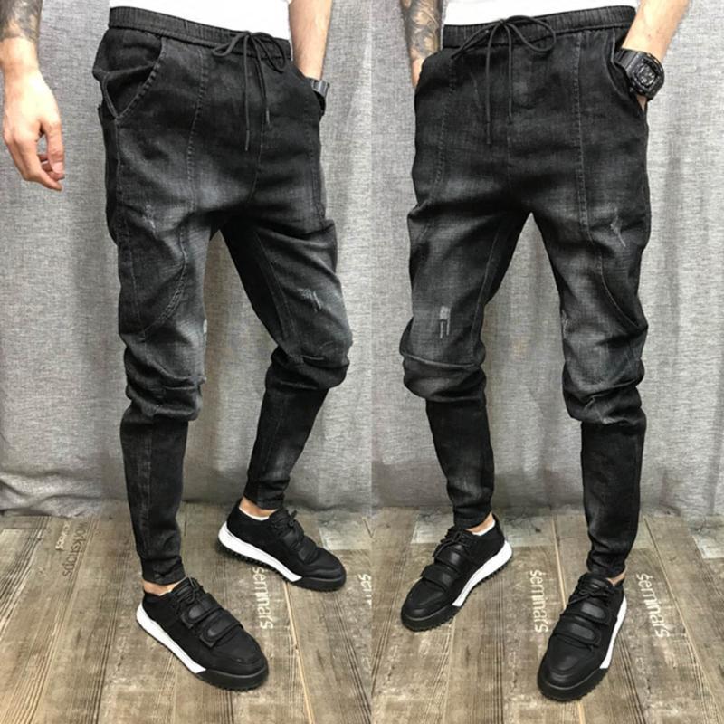 Мужские джинсы оптом 2021 Drawstring эластичные талии мужские брюки тонкие ноги же стиль социальные люди шить Harem1
