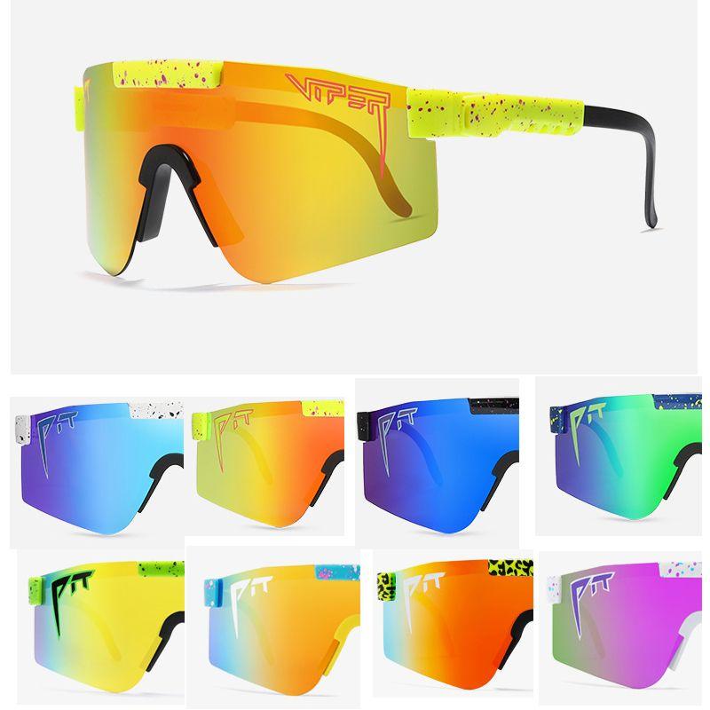 사이클링 안경 더블 보도 브랜드 로즈 레드 피트 바이퍼 선글라스 더블 넓은 편광 미러 렌즈 TR90 프레임 UV400 보호 WIH 케이스