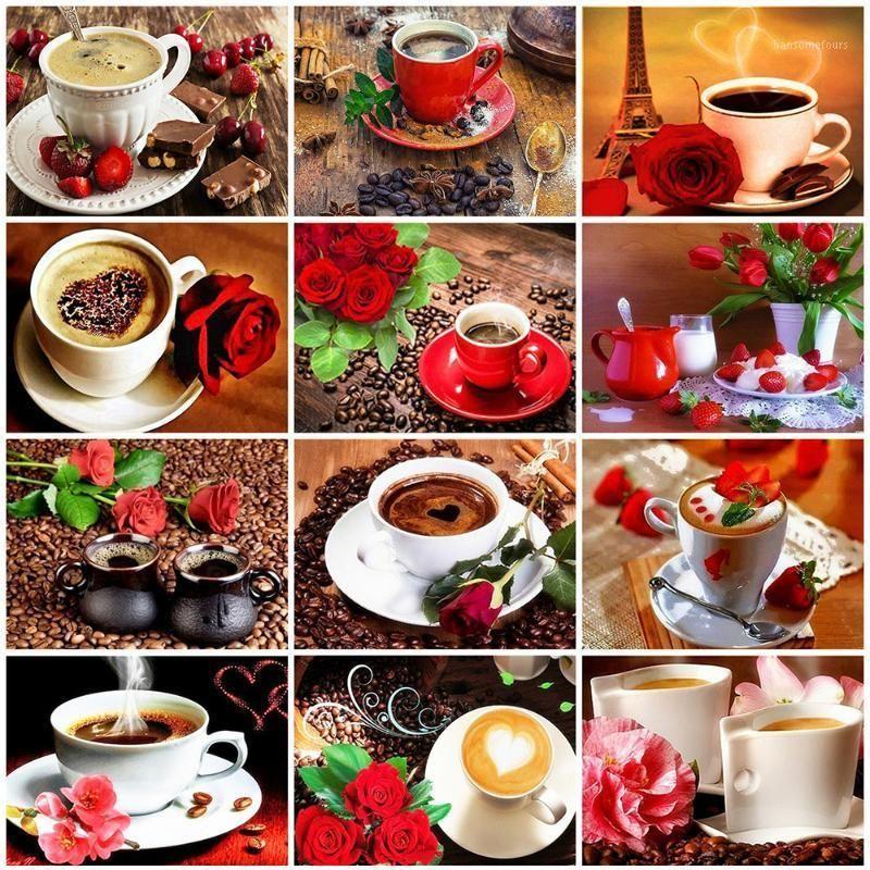 Evershine Diamond Painting Coffee Cup Completa Quadrato Punto Croce Kit Diamante Ricamo Fiori Picture Strass Strass Decorazioni per la casa1