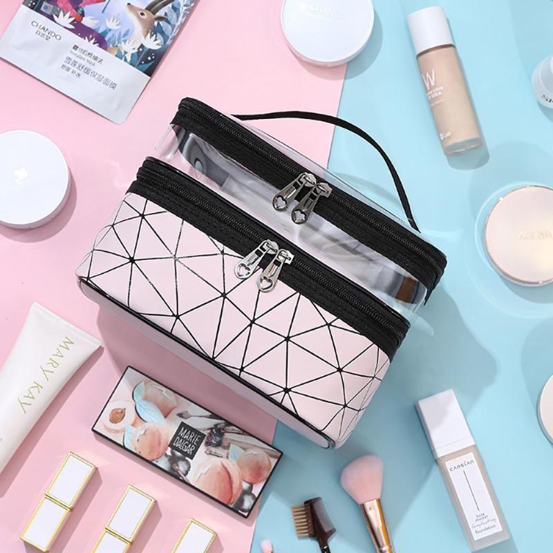 2021 Nuovo Progettato PU Leather Beauty Make Up Borse per le donne Stripe Grande Capacità Capacità Femminile Cosmetici Borse da toilette
