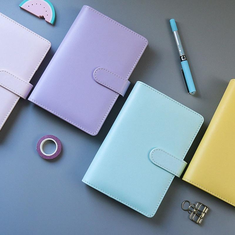 Macarons Pu Binder A5 A6 دفتر يوميات الجدول كتاب مخطط يوميات فضفاضة ورقة الموثق لطيف اللوازم المدرسية
