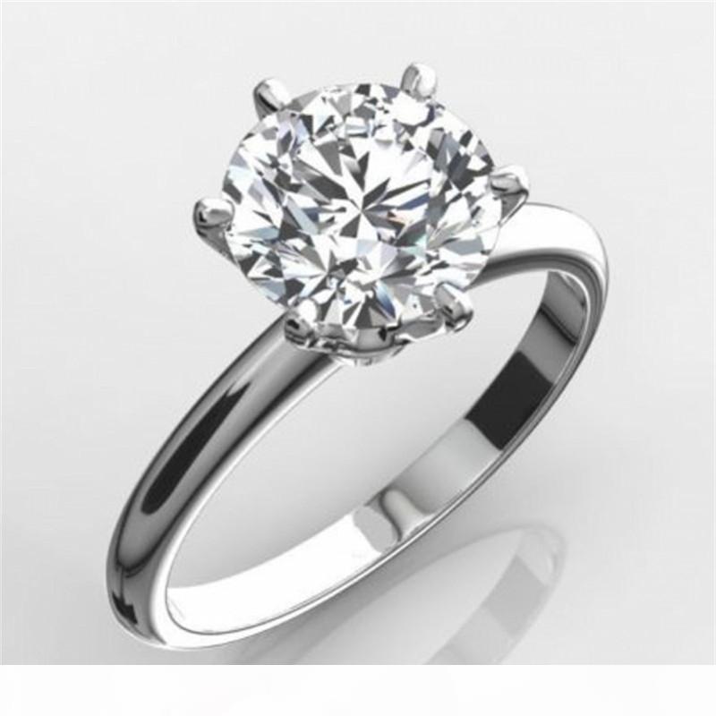 Luxe classique Solid Real 925 Bague en argent sterling 2CT ronds Sona diamant bijoux de mariage Bagues de fiançailles pour les femmes Sz 4-10 J190721