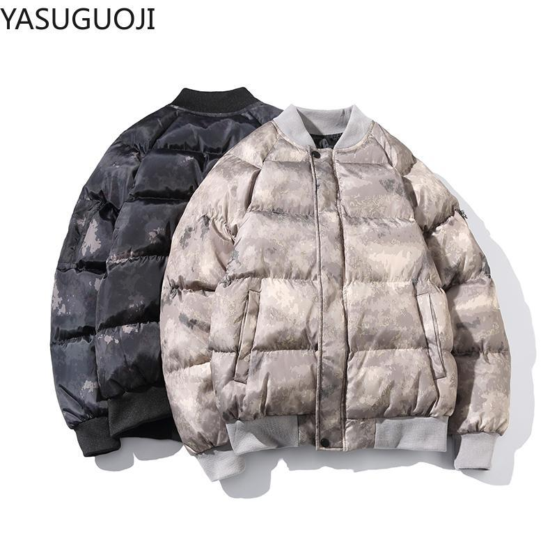 YASUGUOJI Winter Thick Men's Cotton Padded Jacket Camouflage Parka Camo Zipper Stand Collar Coat Uomo Abbigliamento