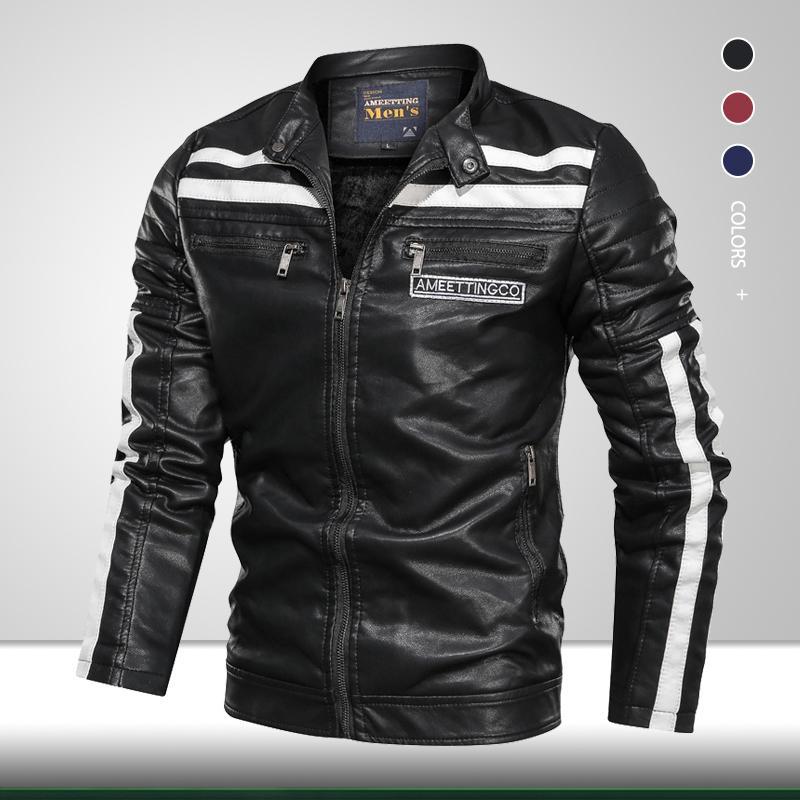 Cuero de la motocicleta de alta calidad para hombres 2020 Hombres de invierno Moda Casual Chaqueta Biker Chaqueta Cuello Masculino Soporte Collar Cálido PU Outwear
