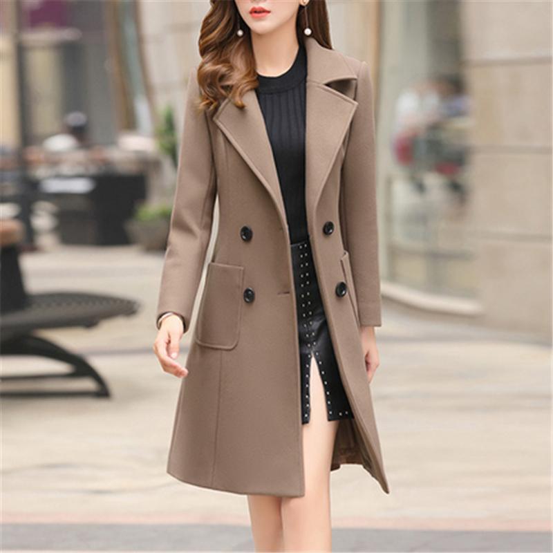 Длинная стройная смесь верхняя одежда 2020 новых женщин пальто шерстяной шерстяной одежды двойной погружной высокое качество осенью зимняя куртка одежда элегантный