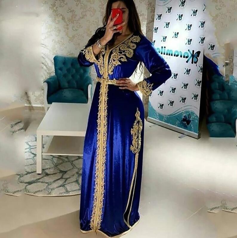 Muhteşem Kraliyet Mavi Fas Kaftan Örgün Abiye Uzun Kollu Müslüman Parti Elbise Altın Dantel Dubai Özel Durum Elbiseler