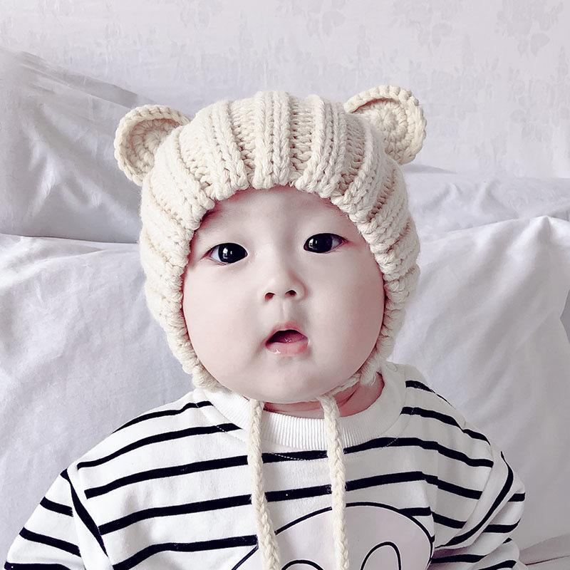 Neue Baby Hut Winter Nette Runde Ohren Warme Ohrenschützer Wollkappe Kinder Hut Kappe Umfang: 44-48 cm