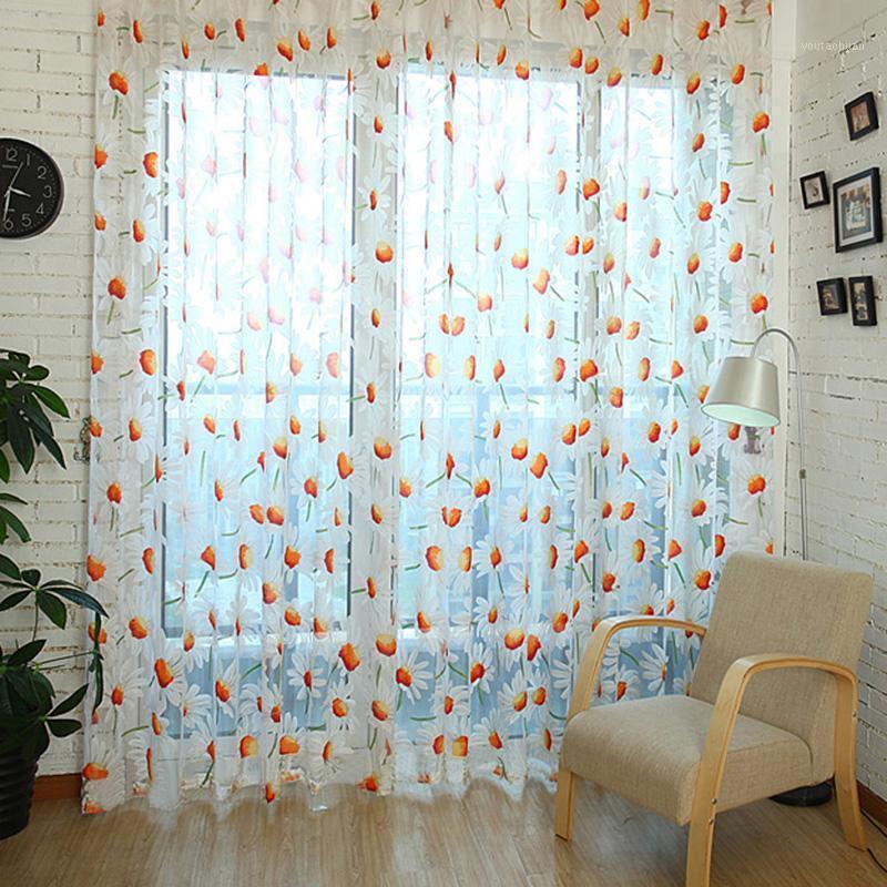 1 шт. PC DAISY Tulle Занавес окна скрининга сгоревших пряжа шторы для спальни гостиной цветок занавес 1 м х 2м1