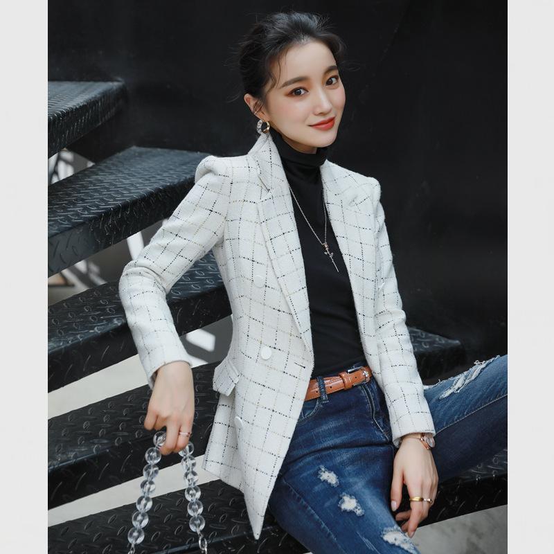 Женские костюмы Blazers Корейский черный плед Дикая повседневная мода темперамент костюма куртка женская одежда профессиональная женская осеньWomen Plus Si