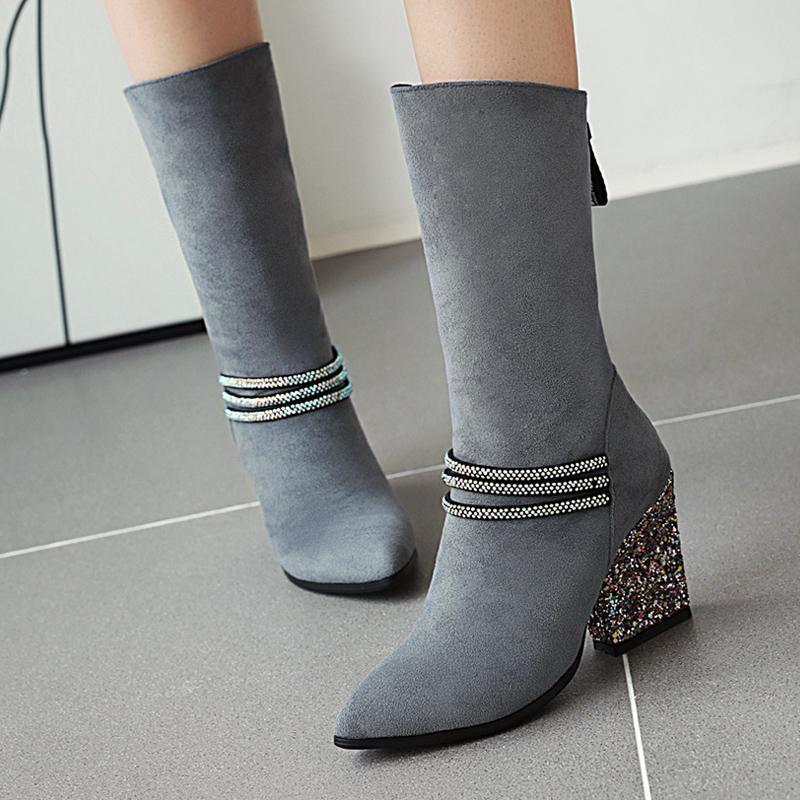 AIWEIYi Damen Stiefel Schwarz-Veloursleder-Stiefel High Heels Glitter Mitte Kalb Reißverschluss-Plattform-Frau Booties Botas Mujer