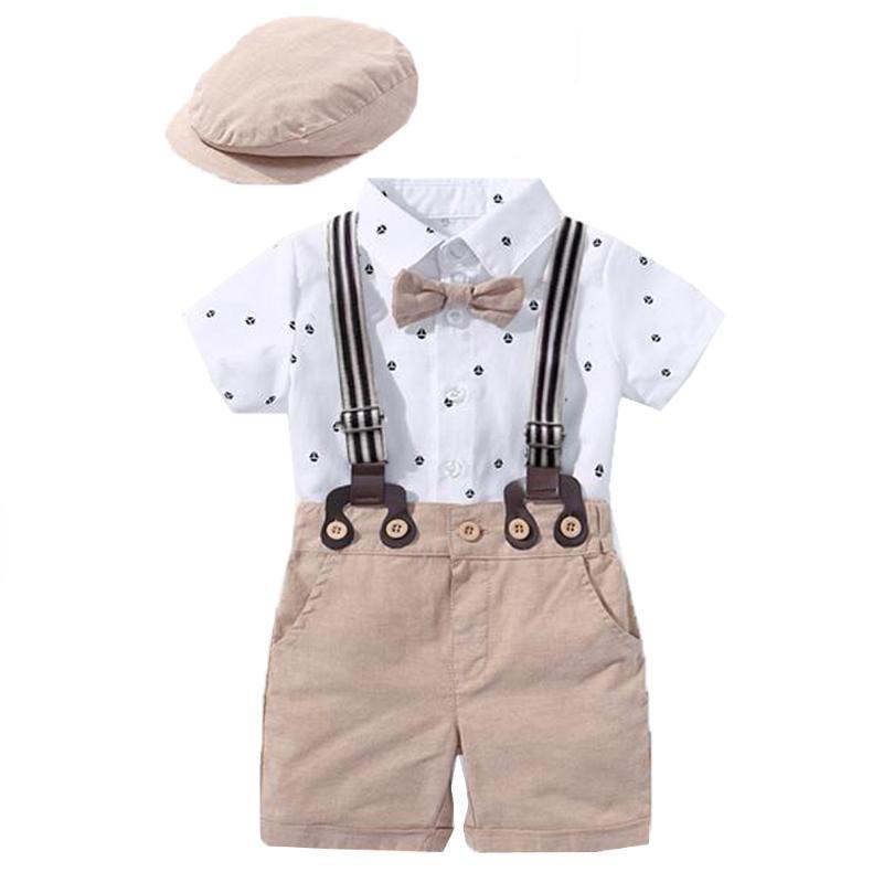 Наборы одежды Родины Мальчики Джентльмен Одежда одежды набор костюм набор детские галстуки лук шляпа + парусник напечатанный ползунки шорты ремень детский ребенок