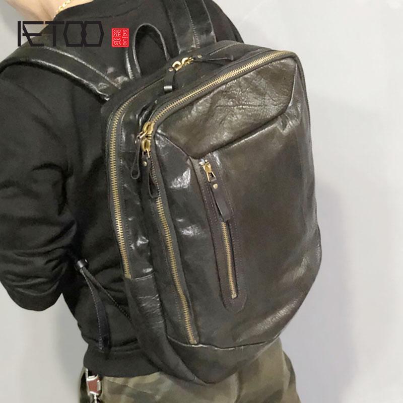 HBP Deri El Yapımı Aetoo Siyah Çanta Retro Erkek Fermuarlı Sırt Çantası, Kafa Çok Katmanlı EEFPX