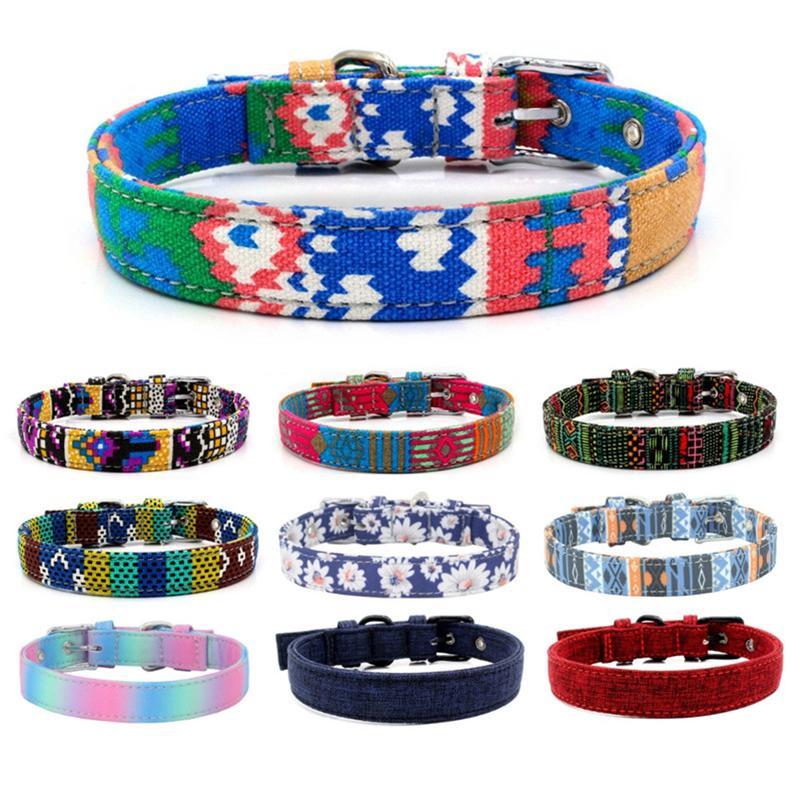 Hundekragen Mode Leinwand Bunte Druck Hund Halsbänder Einstellbare Stiftschnalle Hundehalsbänder Ringe Pet Supplies Großhandel