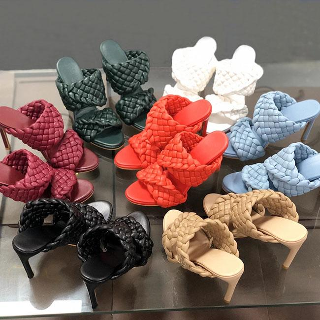 여성 디자이너 샌들 하이힐 곡선 샌들 길쭉한를 짠 발가락 노새 패션 명품 디자이너 여성 신발 하이힐의 크기 35-42 아몬드