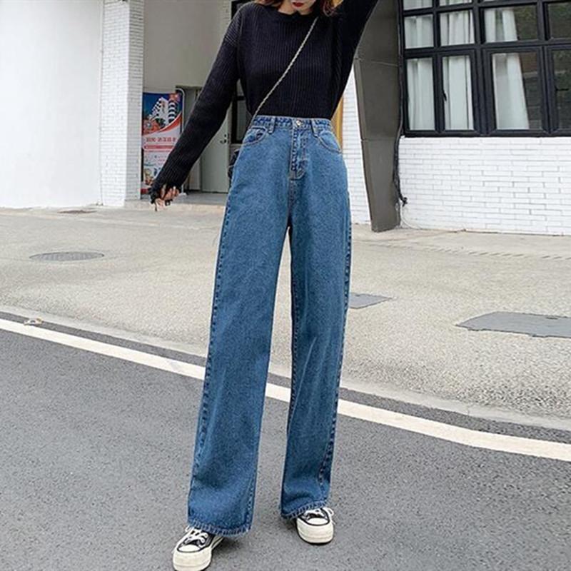 Ampla perna da calça da mulher Cintura alta Outono E Inverno Plus Size Azul Casual solta Hetero Retro Student Denim