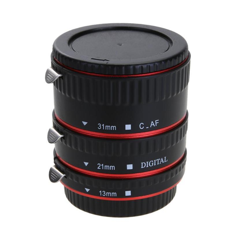ALLOYSEED Colorful MetalL Auto Focus AF Macro Extension Tube Ring for EOS EF EF-S 60D 7D 5D II 550D Red