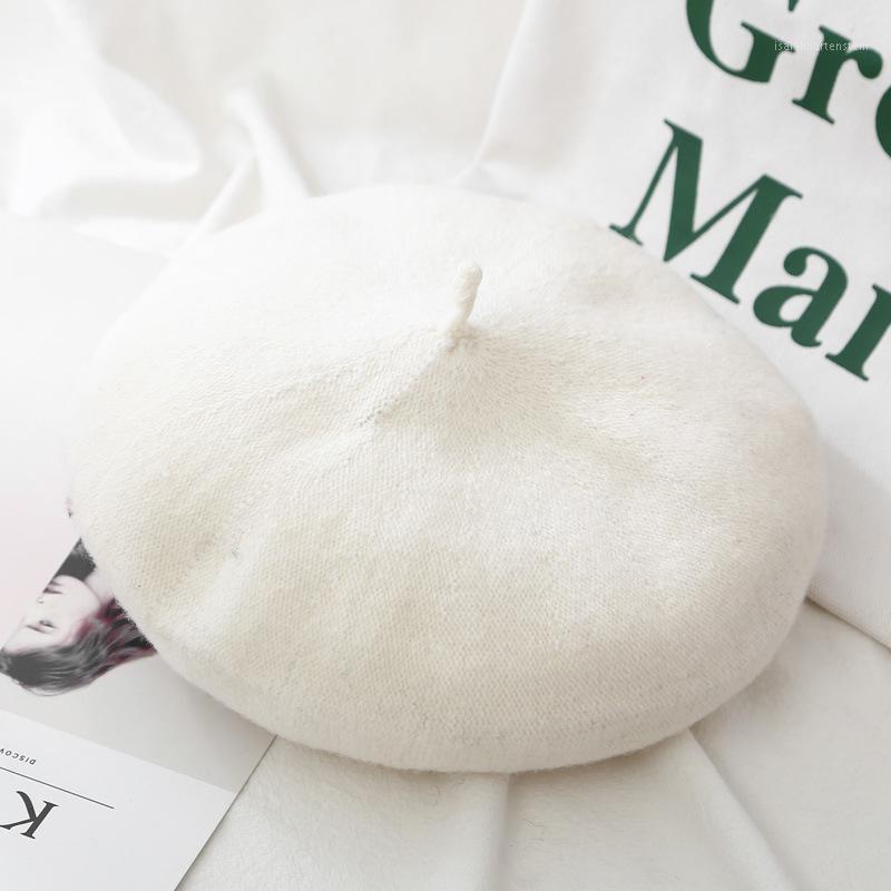 Bon marché de nouvelles femmes de laine de couleur solide béret femme chapeaux chapeaux rétro casquette vintage béret chapeaux de béret solide couleur élégante dame hiver cap1