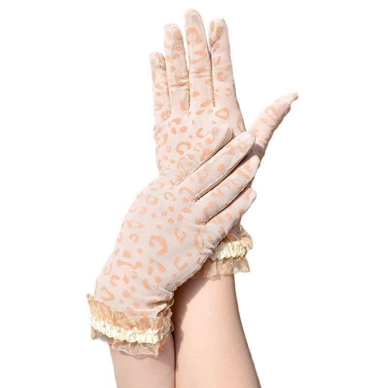Frauen Mesh Leopard kurze Handschuhe Glänzende Rüschen Trim Handgelenk Länge Sunscreen Fäustling