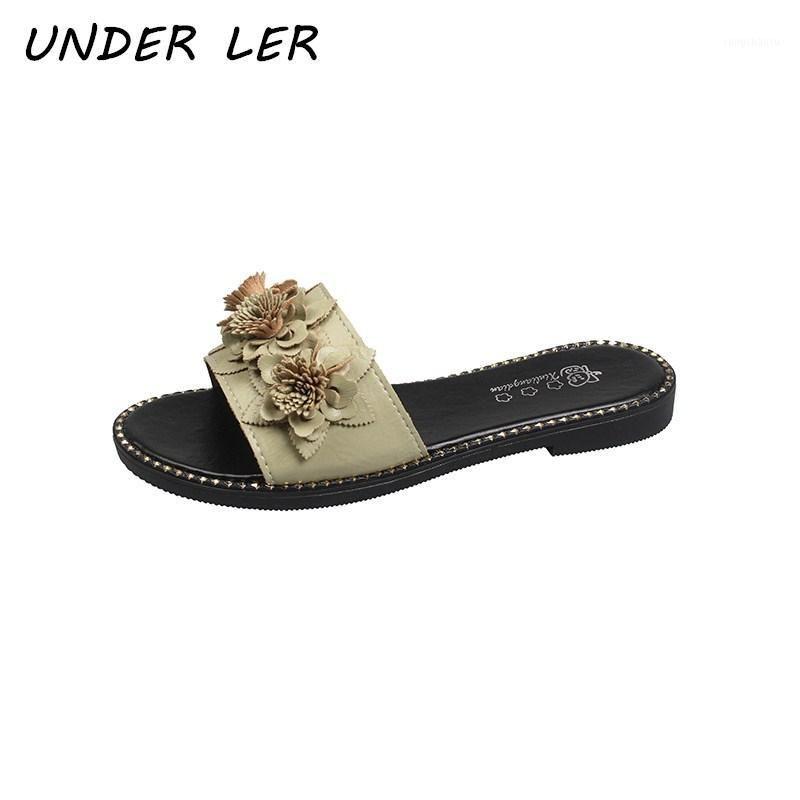 2020 Novas Marcas Chinelos Florais Leather Senhoras Sandálias Open Toe Flat Chinelos Casuais Verão Outdoor Praia Mulheres Flip Flops1