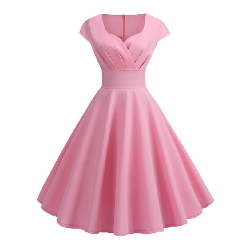 Женщины Сладкий дамы Хепберн Стиль принцессы высокой талией V шеи сплошного цвета без рукавов Большой свинг Midi платье