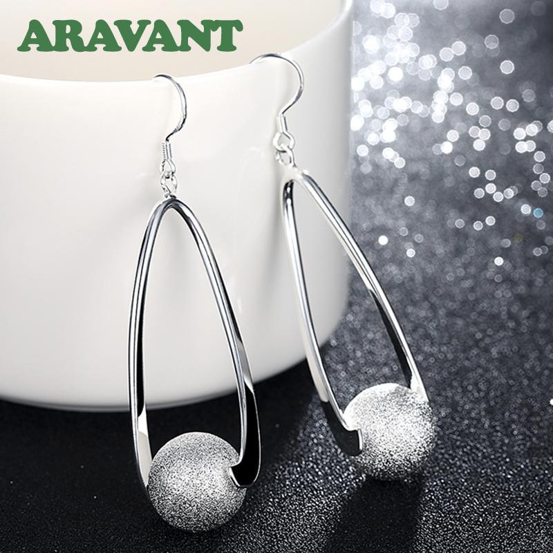 Boucles d'oreilles d'argent 925 boucles d'oreilles à bille de ponçage pour femmes bijoux de mode mariage Q1219