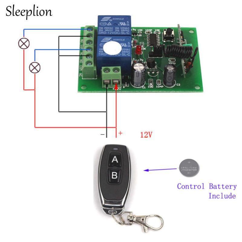Sleeplion 12V 2CH Switch With Remote Control Relay Universal Remote Control Relay Switch Module 12V 2 Channel Receiver