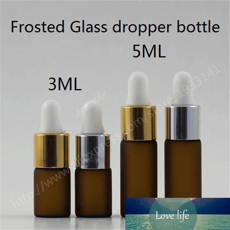 50pcs / lot 3 ml 5ml Bernstein Mattglas Tropfflasche, Kleine Frosted Tropfflasche Pipette, 3cc 5cc Glasflasche mit Dropper