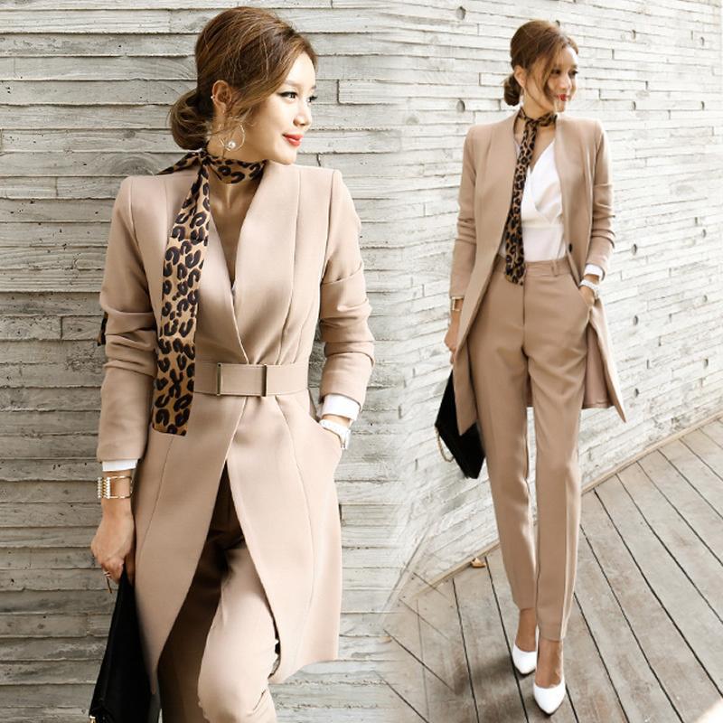 2020 осень женские 2 шт Женские повседневные Офис Бизнес Формальное рабочая одежда Комплекты форменные стили Элегантные костюмы Pant