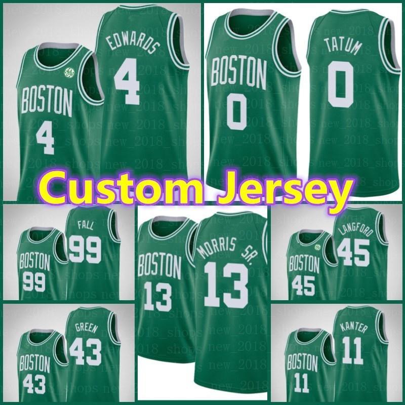 Benutzerdefinierte BostonKeltenJersey Tacko 99 Herbst Jayson 0 Tatum Larry Jaylen Kevin Braun Braun Garnett Basketball Kevin 32 Mchale Asda