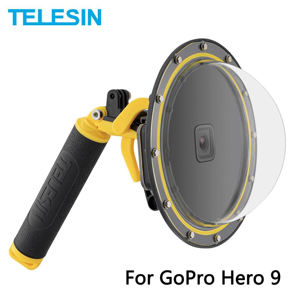 Telesin 6 '' قبة ميناء 30M حالة الإسكان للماء مع العائمة مقبض الزناد ل gopro هيرو 9 أسود تحت الماء غطاء q109