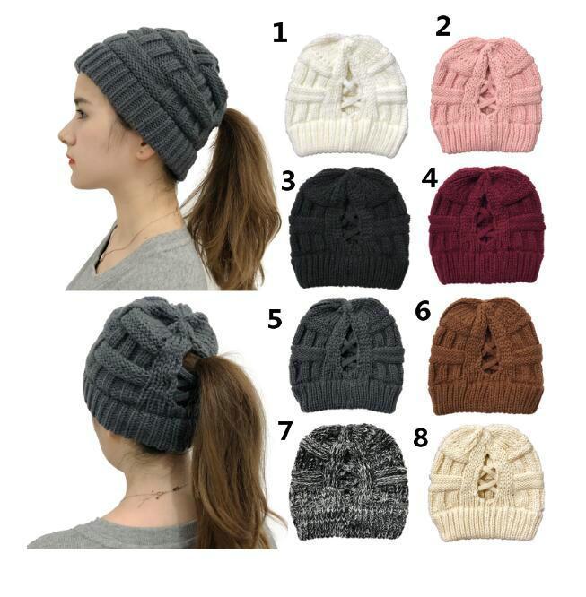 2020 Nuova maglia croce maglia tappo coda di cavallo con la signora apertura cappello di lana calda 5pcs / lot Epacket consegna.