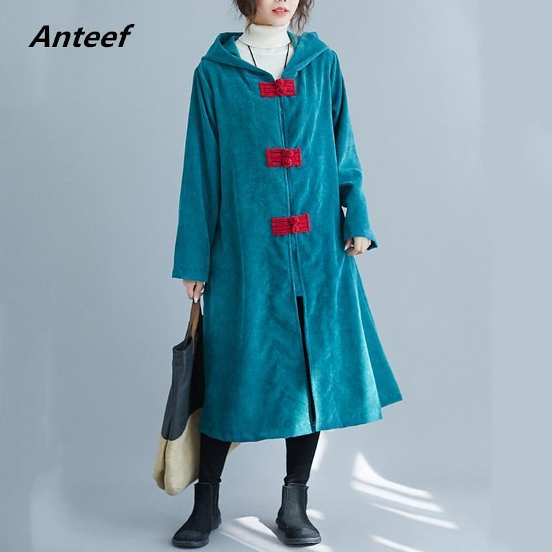 Cajas de zanjas de mujer Corduroy Plus Tamaño Sólido Vintage con capucha Mujeres Casual suelto Largo Otoño Invierno Femenino Abrigo 2021 Ropa