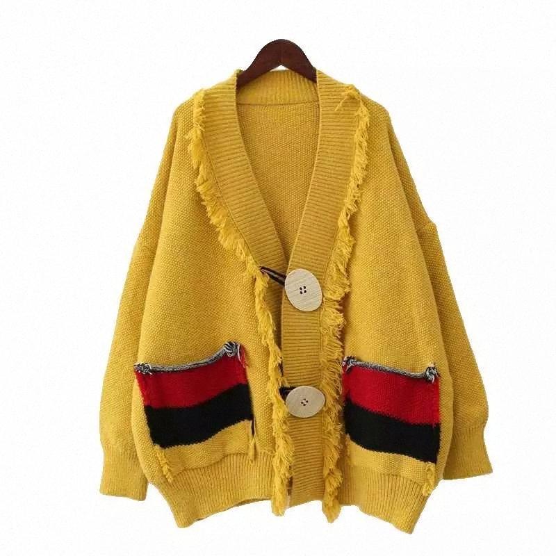 Femmes Cardigan Pull 2020 CORÉEN CARDIGANS CARDIGANS POWÉRICATEURS FEMMES V NOUVE ELEGAHT ELEGAHT épaisseur épaisseur FEMME Imprimer Court manteau occasionnel # Ib0x