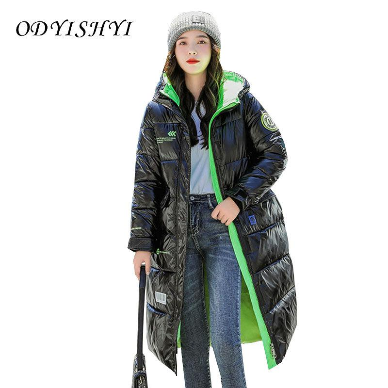 Acolchoado de inverno jaqueta com capuz Feminino 2020 Moda brilhante Mid Brasão Long Down Cotton Oversize solto Quente Casacos Mulheres Parka Dh99