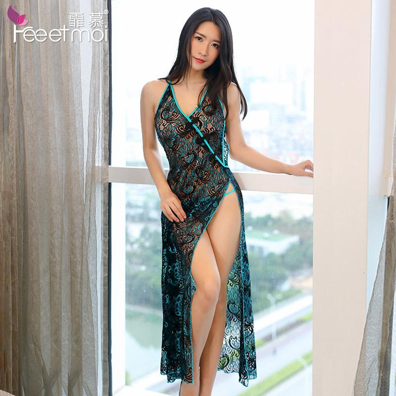 Peacock cheongsam broderie longue BabyDolls Femmes Sexy évider Lingerie érotique Costumes Lingerie Sexy Porno Robe Babydoll