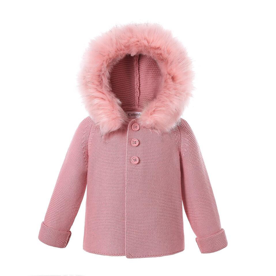 Pettigirl Autumn Winter Kids Sweaters And Coat Detachable Faux Fur Hoodied Cotton Yarn Baby Boys Girls Coat Children Outwear U-DMOC307-435DP