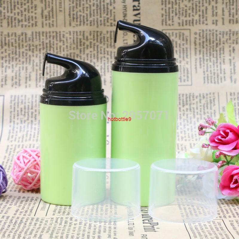 Botellas de la bomba sin aire vacías verdes 50 ml botella de crema de emulsión de 80 ml para viajar componen contenedores al por mayor 100pcs / lot DHL FreePls Pedido
