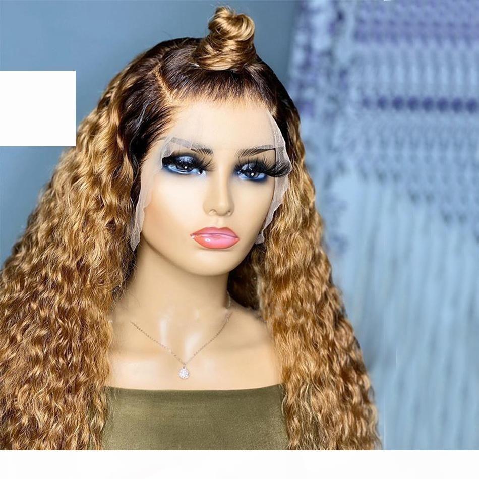 Honig blonde lose welle menschliche haare volle spitzeperücken für frauen 13x6 spitze front tiefe locken menschliche haare perücken vorablassung hairline 360 frontal