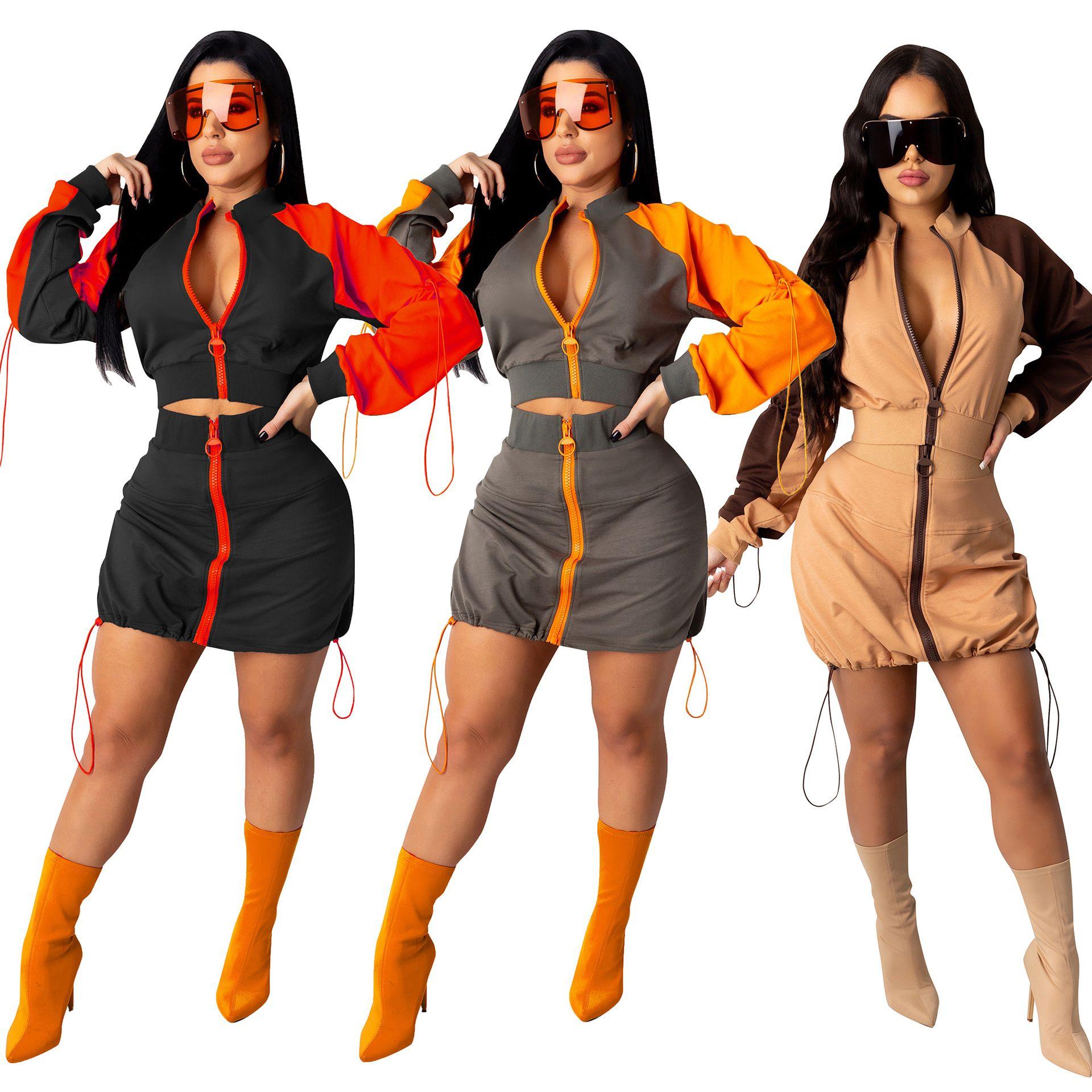 Autumn Sexy Color Patchwork Two Piece Set Dress Long Sleeve Zipper Short Jacket Drawstring Mini Skirt Fashion Tracksuit
