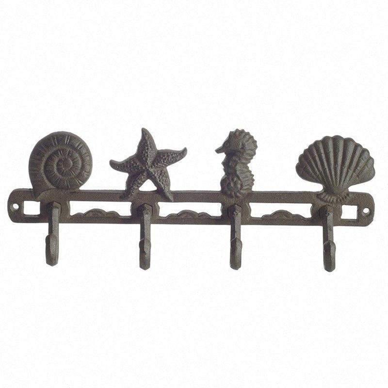 Cast Iron Wall Perchas Hippocampus Estrellas y proyectiles con 4 ganchos - montado en la pared decorativo Armarios D3IR #