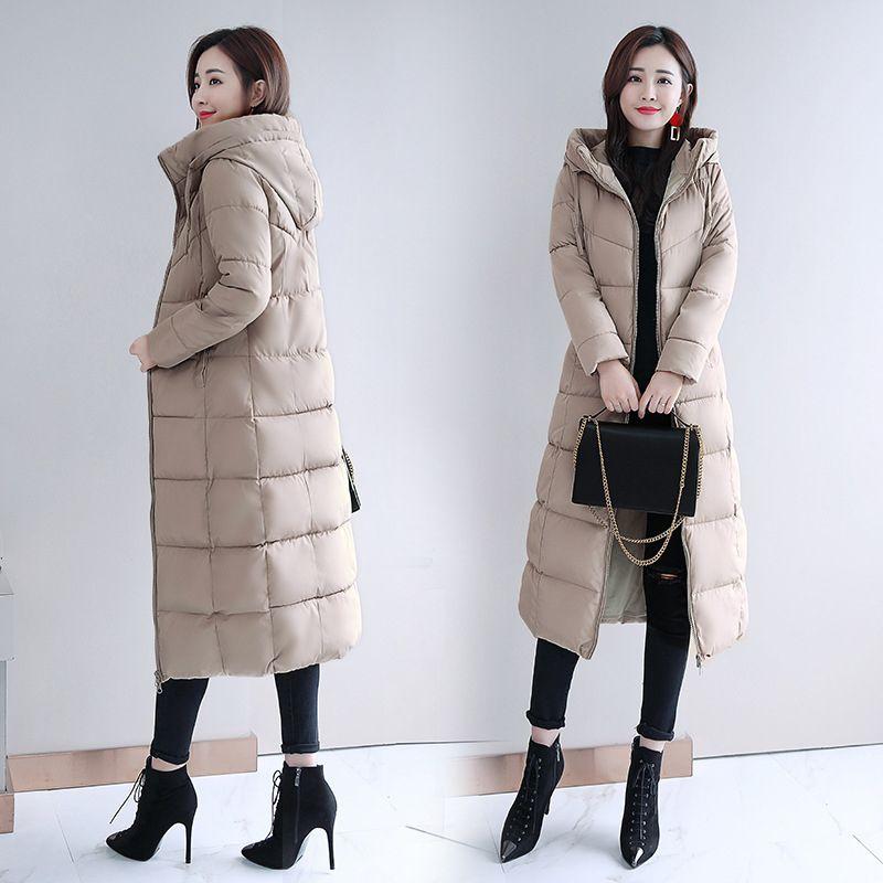 kadınlar kış artı boyutu M-6XL X-uzun parkas ince kalın ceket moda kapüşonlu sıcak bayan kat 201022 femme bileziği 8 renk standı