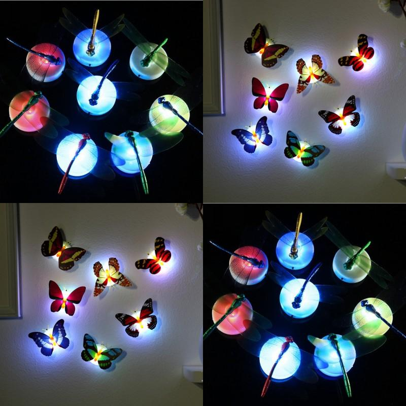 Colorful led lights Wall Stickers Easy Installation Butterfly Dragonfly LED Night light Children Baby Bedroom Party Christmas Lamp 430 N2